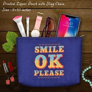 Simple Classy Slogan Print Pouch - IL42p