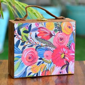Colorful Floral Suitcase Clutch - IL95sc