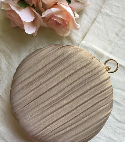 -Luxurious Nude Metallic Round Clutch